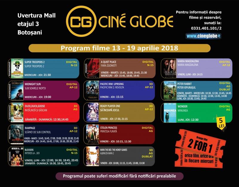 Cine Globe vine cu o ofertă atractivă pentru botoșăneni! VEZI ce filme rulează din 13 aprilie