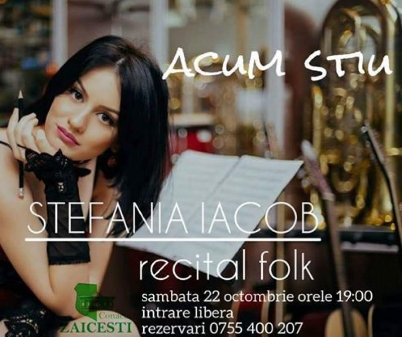 """Seară folk la Conac: """"Acum ştiu"""", cu Ştefania Iacob!"""