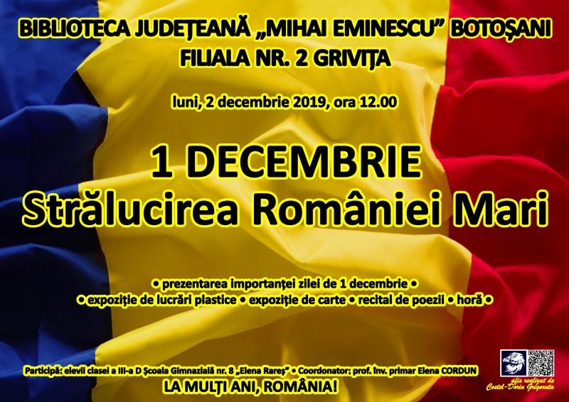 1 Decembrie, cu recital de poezii și expoziție de desene, la Biblioteca Județeană