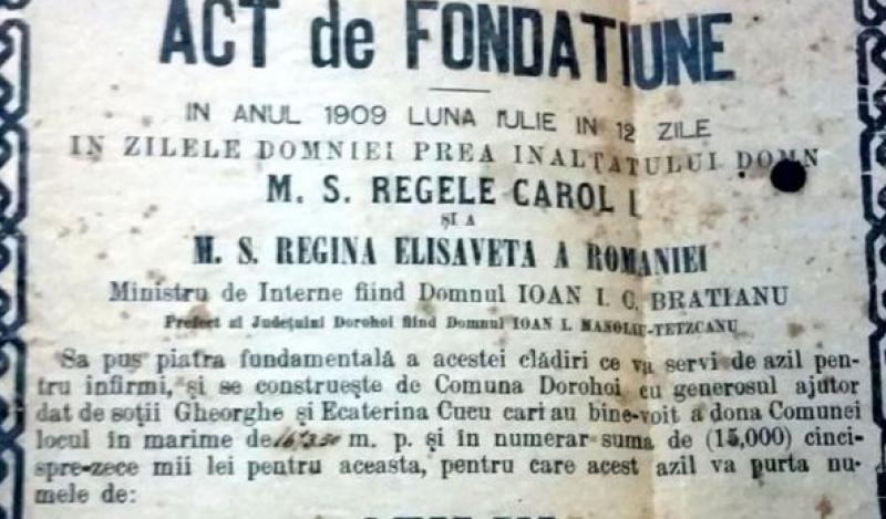 """110 ani de existență a azilului """"Gheorghe și Ecaterina Cucu"""" din Dorohoi"""