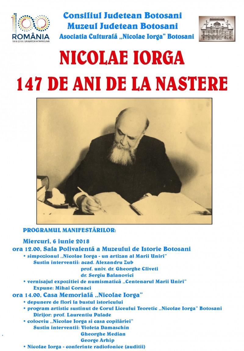 147 de ani de la naşterea lui Nicolae Iorga, la Muzeul Județean Botoșani