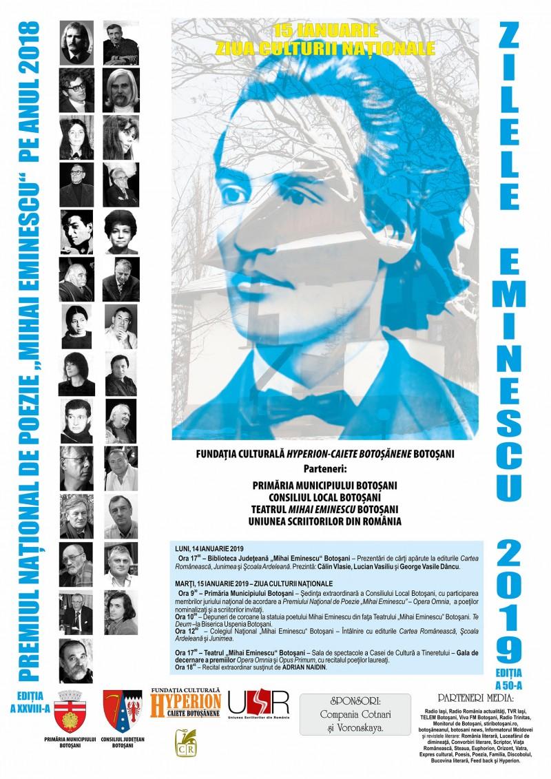 """15 ianuarie - Ziua Culturii Naționale - Premiul Național de Poezie """"Mihai Eminescu"""", ediția a XXVIII-a: Programul manifestărilor"""