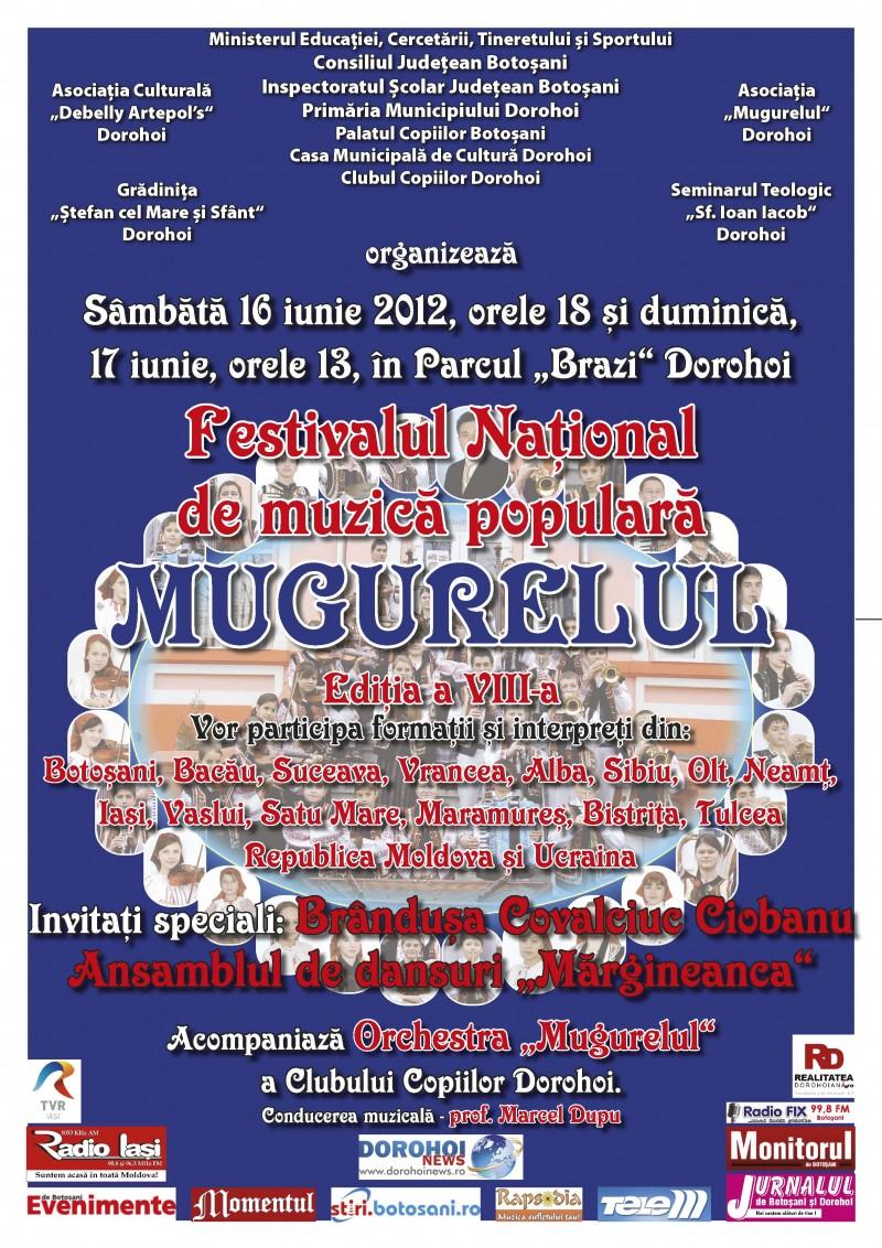 """16-17 iunie, Dorohoi: Festivalul National de muzica populara """"Mugurelul"""", editia a VIII-a!"""