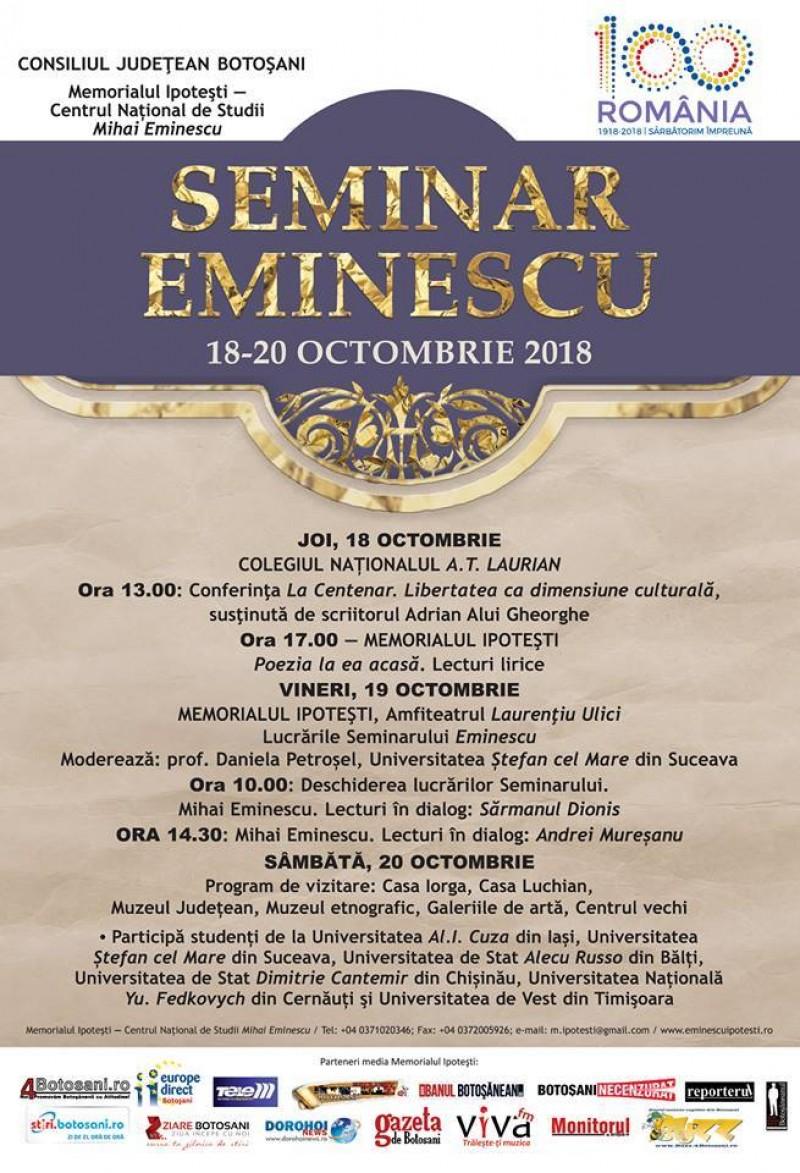 18-20 octombrie: Seminar Eminescu la Ipotești, sub semnul Centenarului