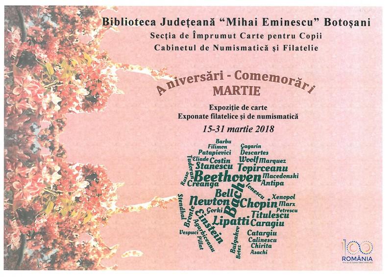 19-30 martie, Aniversări – comemorări culturale, la Biblioteca Județeană