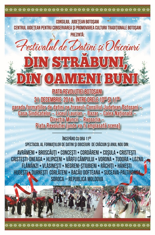 """21 decembrie: Festivalul de datini şi obiceiuri de iarnă """"Din străbuni, din oameni buni"""""""