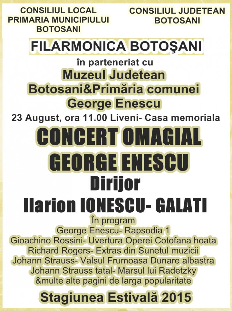 23 august: Concertul omagial GEORGE ENESCU, la Liveni