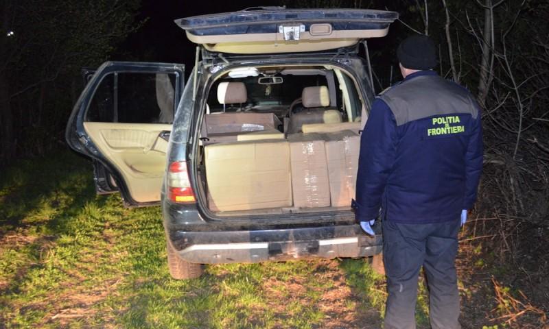7.000 de pachete de țigări și un autoturism, confiscate de poliţiştii de frontieră!