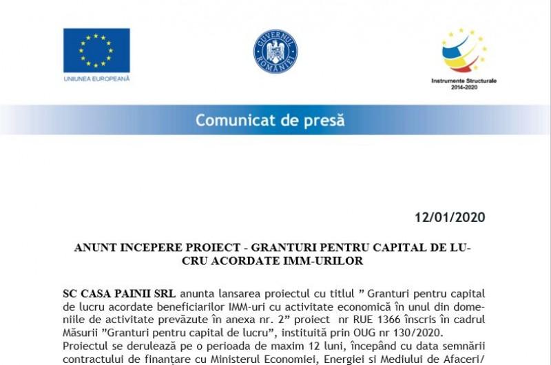 (A) Anunt incepere proiect - granturi pentru capital de lucru acordate imm-urilor 12 ianuarie 2021