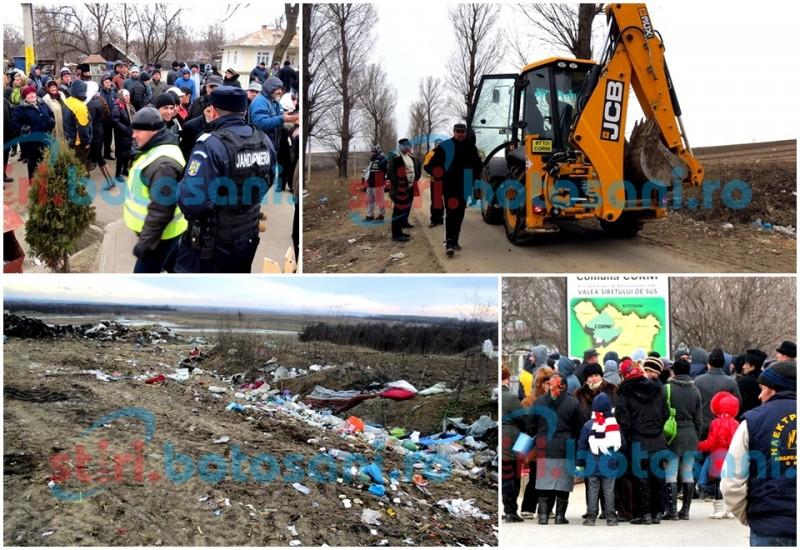 A patra zi de proteste la Corni! Oameni revoltați că buldoexcavatorul Primăriei împrăștia gunoiul pe malul Siretului – FOTO, VIDEO
