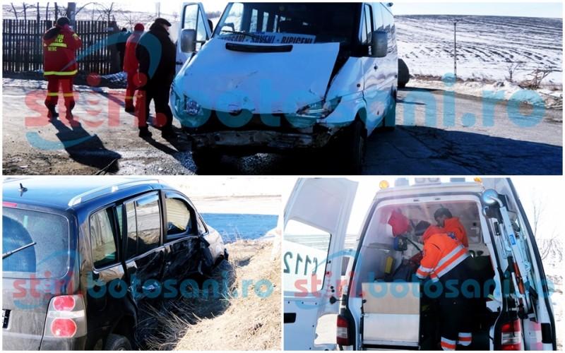 ACCIDENT cu trei victime în intersecția de la Roșiori! Impact între un autoturism și un microbuz cu persoane! FOTO