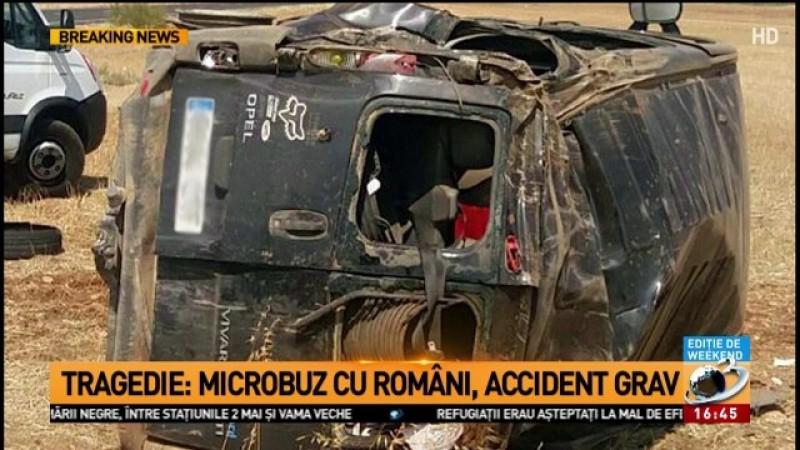 Accident grav cu un microbuz plin de români în Spania! O tânără însărcinată a murit