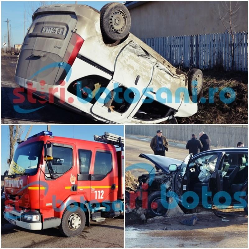 ACCIDENT! Maşină cu roţile în sus pe drumul Botoşani-Săveni, dupa un impact cu un Touareg! FOTO