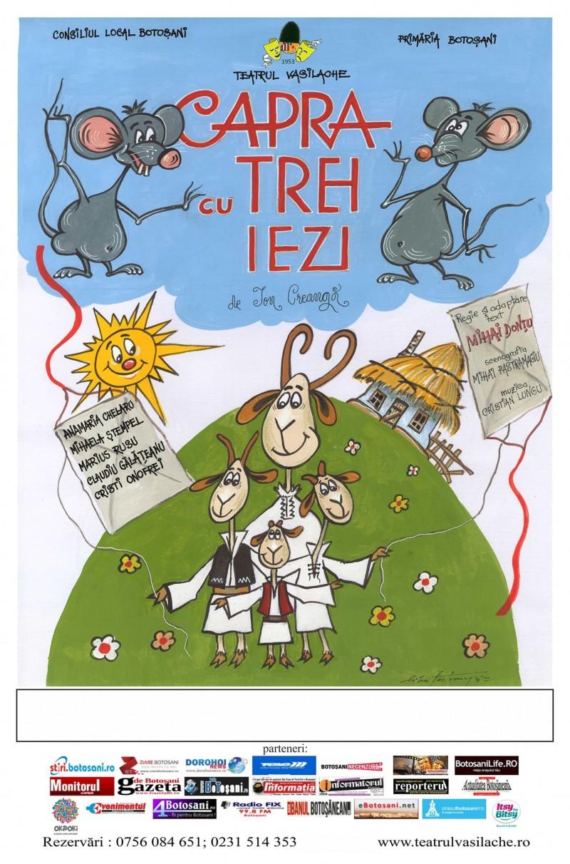 """Actorii Teatrului pentru Copii și Tineret """"Vasilache"""" invite publicul la spectacolul """"Capra cu trei iezi"""""""