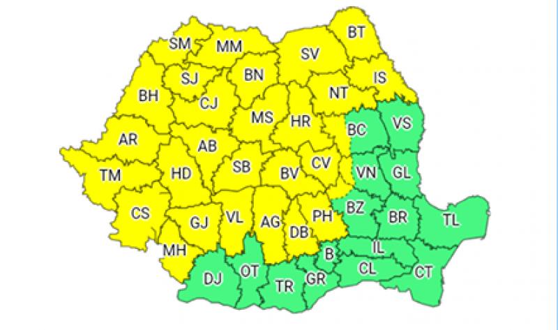 ALERTĂ METEO - Instabilitate accentuată, județul Botoșani sub COD GALBEN!