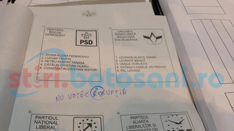 Alte propuneri de candidaţi şi înjurături pe buletinele de vot- FOTO