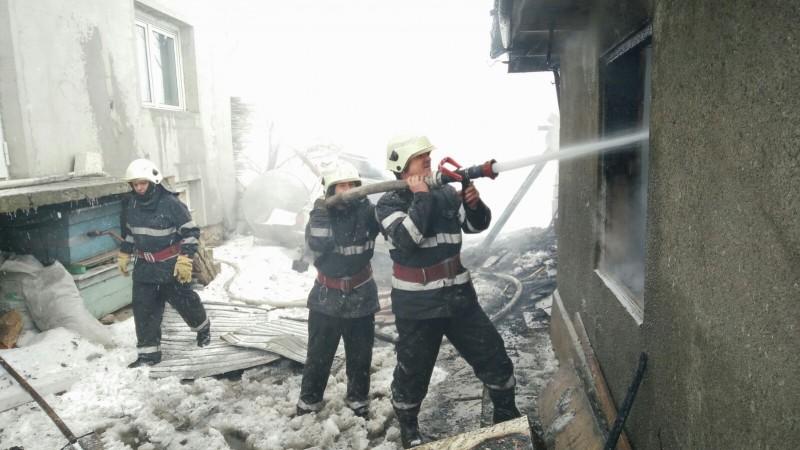 Animale salvate de pompieri. Incendiul a izbucnit de la un coș de fum deteriorat! FOTO