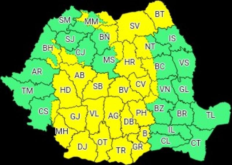 ANM: Cod Galben de instabilitate atmosferică, pentru județul Botoșani
