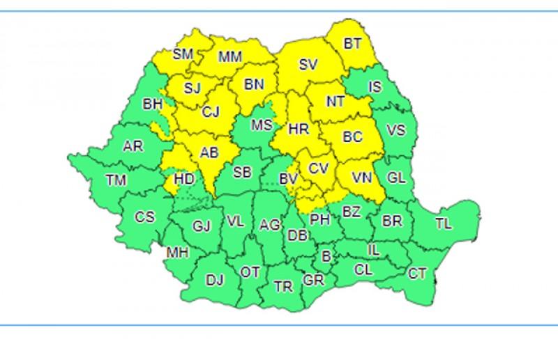 ANM: Ploi și vreme instabilă după ora 12.00 în toată țara