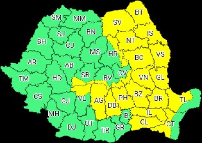 ANM: Un nou Cod Galben de ploi valabil pentru județul Botoșani, până joi dimineața