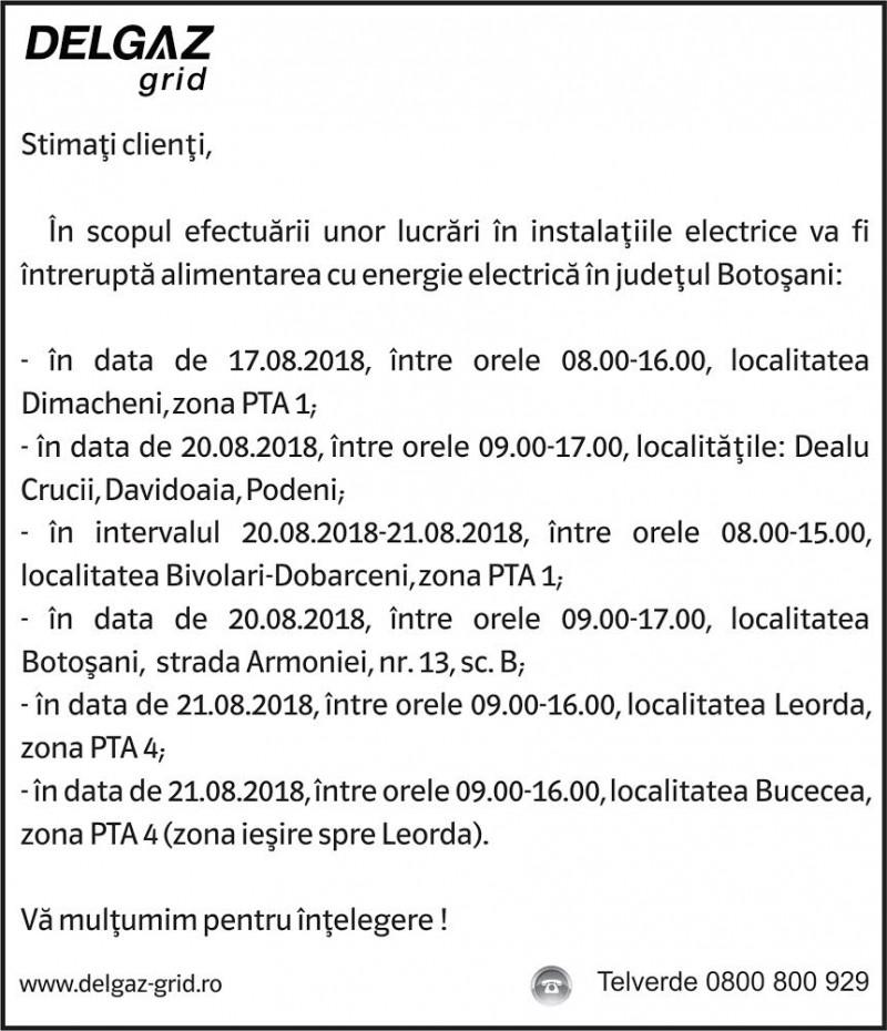 Anunţ Delgaz Grid privind întreruperea energiei electrice