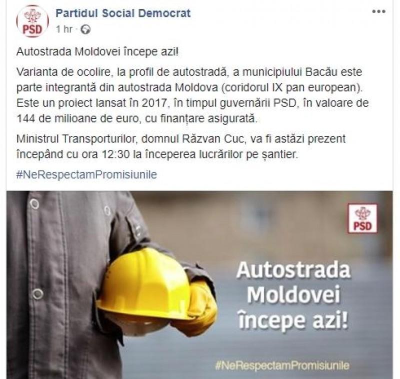 """Anunțul triumfal al PSD, în ziua protestului #șîeu: """"Autostrada Moldovei începe azi!"""""""
