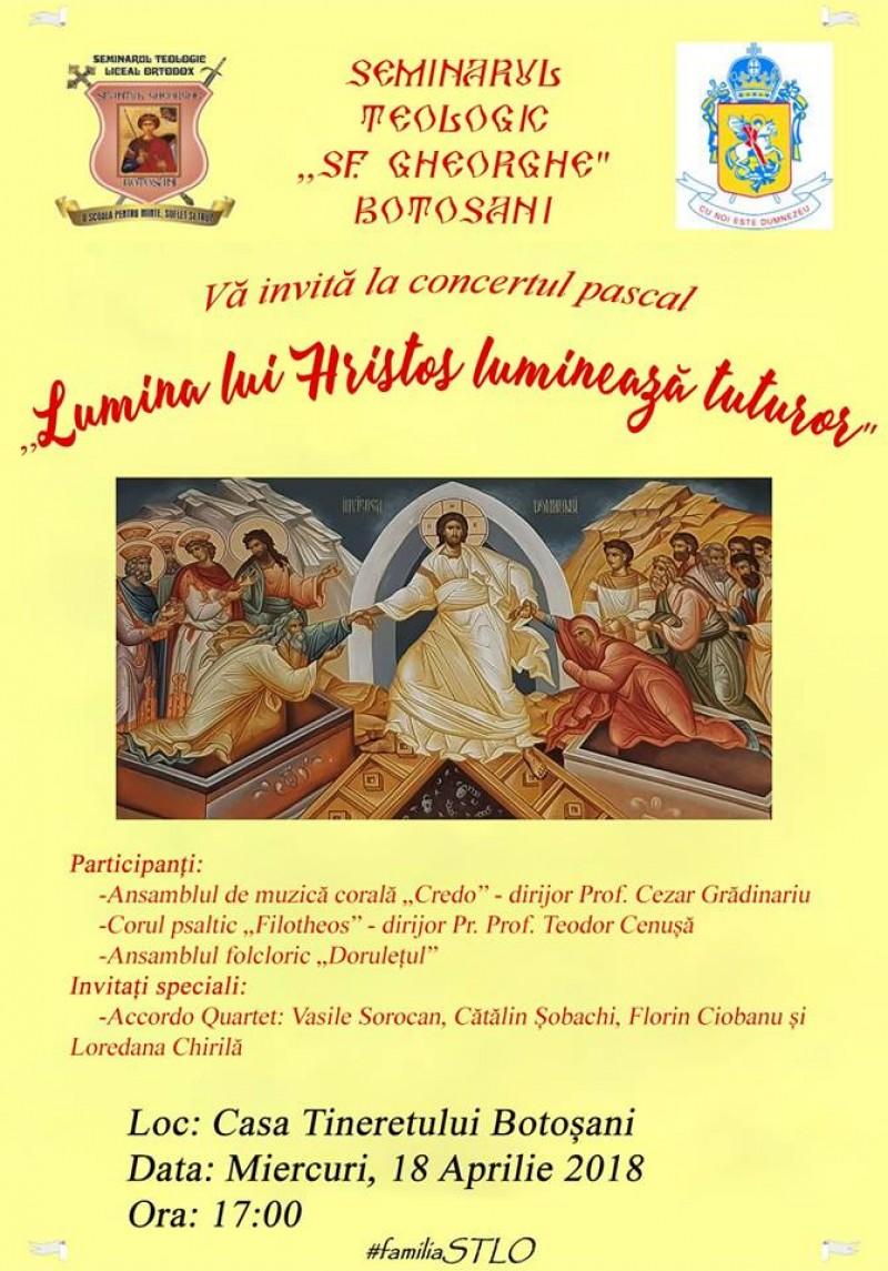 """ASTĂZI: Concertul pascal """"Lumina lui Hristos luminează tuturor""""!"""