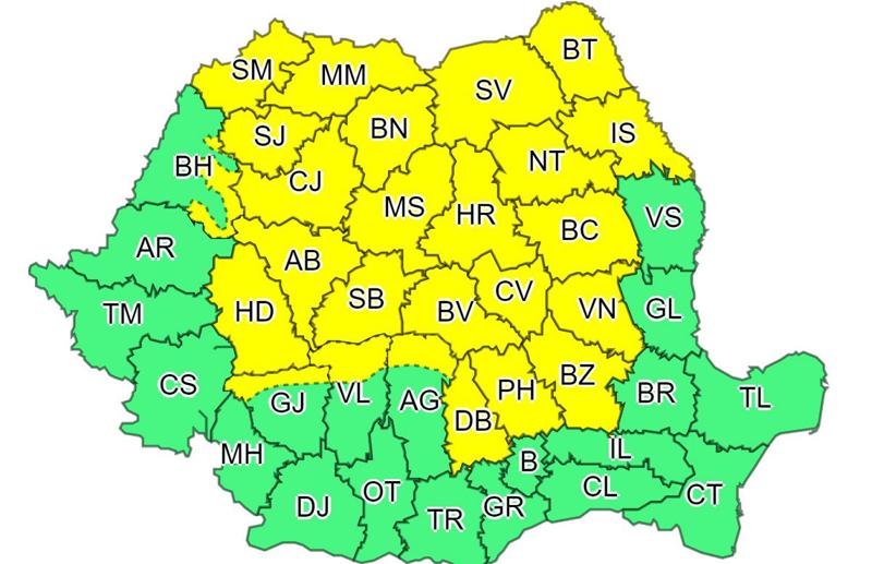 Atenționare COD GALBEN de vreme rea în Botoșani până miercuri noaptea. Ploi torențiale, vijelii și grindină