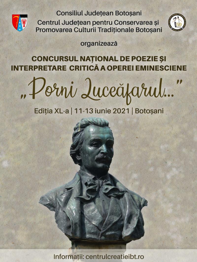 """Au început înscrierile pentru Concursul Național de Poezie și Interpretare Critică a Operei Eminesciene """"Porni Luceafărul..."""""""