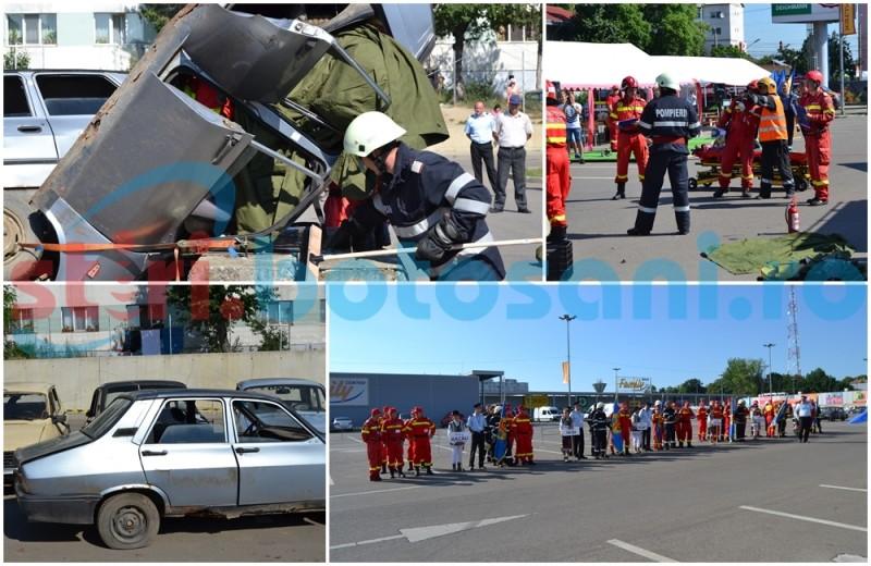 Autoturisme răsturnate şi victime încarcerate: scenariile Competiţiei Naţionale de Descarcerare şi Acordare a Primului Ajutor, desfăşurată la Botoşani! FOTO,VIDEO