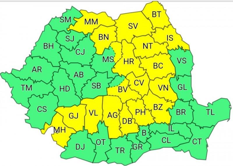 Avertizare meteorologică: COD GALBEN pentru județul Botoșani!
