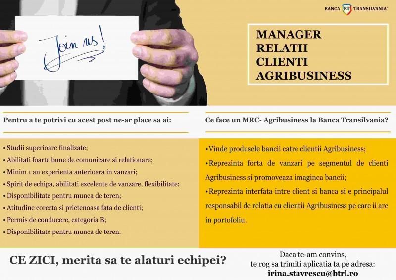 Banca Transilvania angajează Manager Relații Clienți - Agribusiness, pentru Botoșani