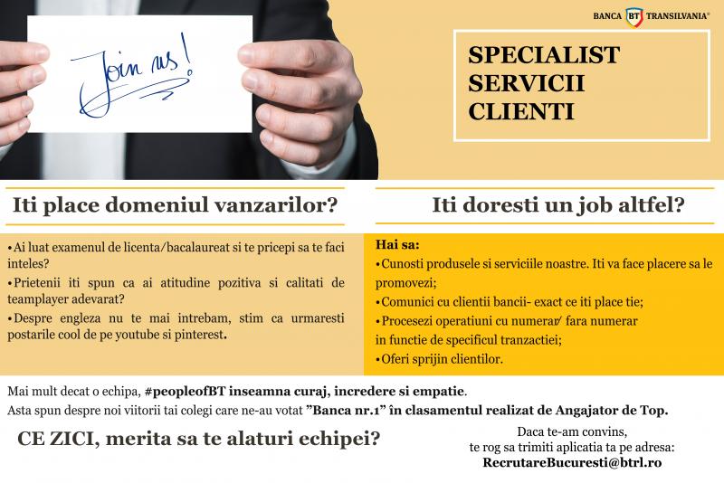 Bănca Transilvania Botoșani caută Specialist Servicii Clienti