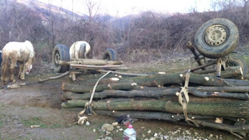Bărbat decedat sub greutatea unui faeton încărcat cu lemne!