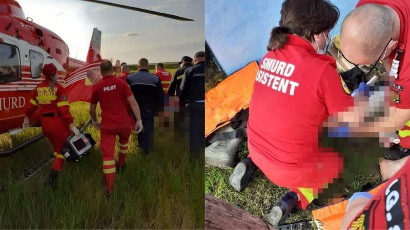 Bărbat transferat cu elicopterul la Iași după un grav accident casnic (video)