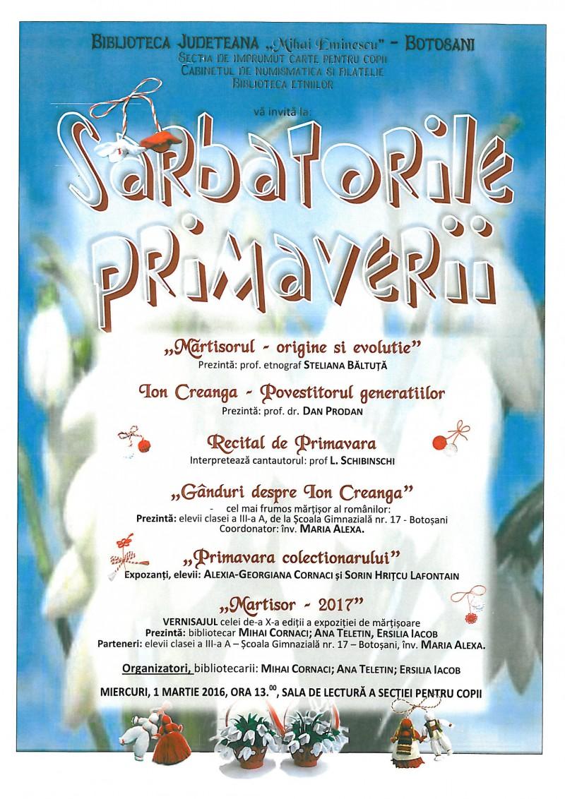 """Biblioteca Județeană Botoșani vă invită la """"Sărbătorile Primăverii"""""""