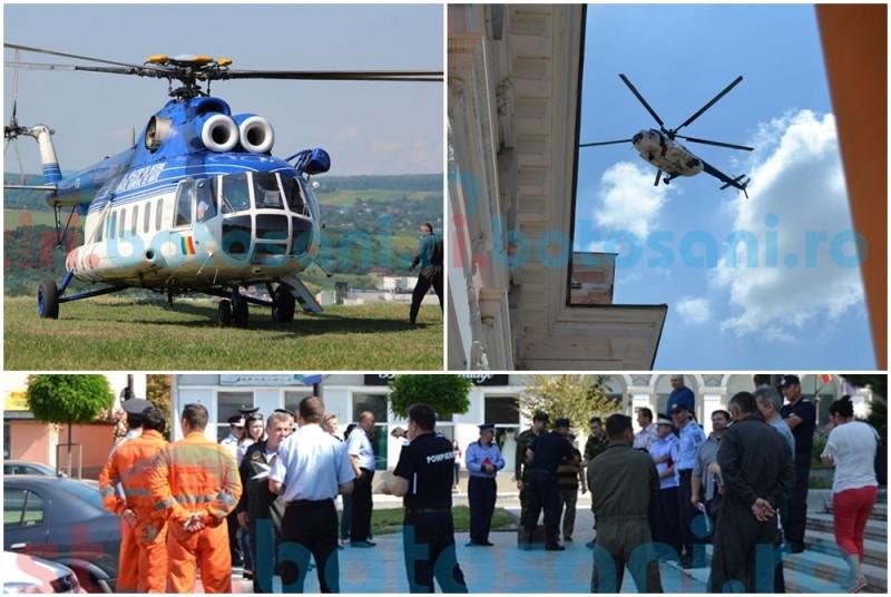 Botoşăneni cu ochii pe cer: operaţiune de recunoaştere în municipiu, cu elicopterul! FOTO, VIDEO