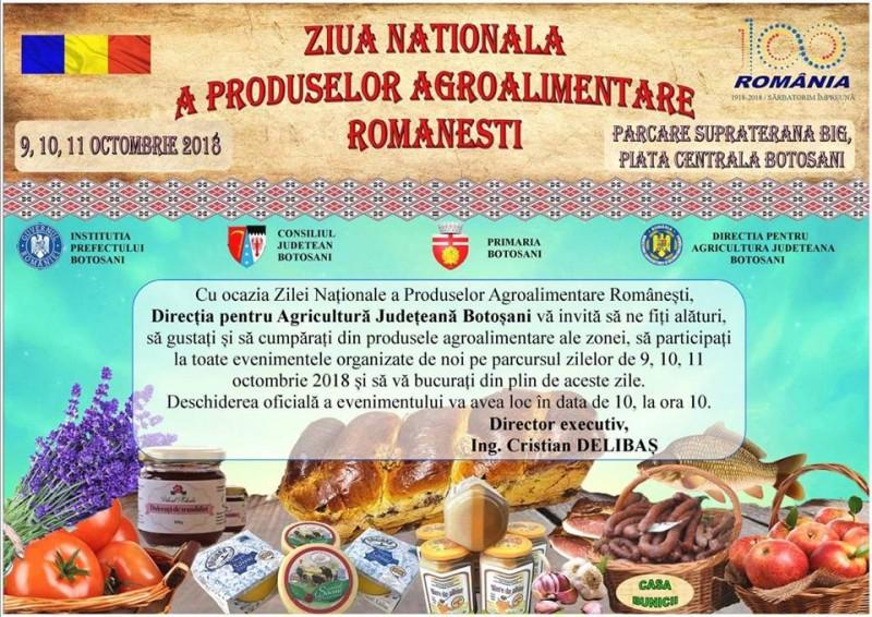 Botoșănenii, așteptați să participe la Ziua Națională a Produselor Agroalimentare Românești!