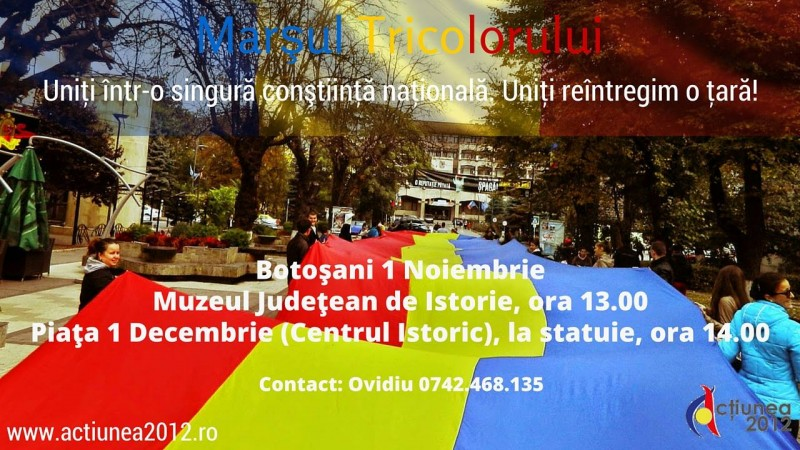 Botoşani, 1 noiembrie: Tricolorul de 100 de metri desfăşurat de Acţiunea 2012