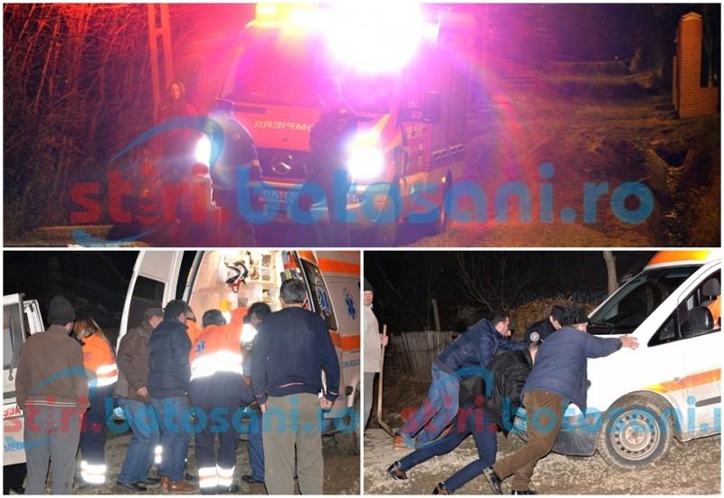 BOTOȘANI 2016 - O ambulanță a rămas blocată în pietriș și noroi, cu tot cu pacientă, pe o stradă din municipiu! FOTO, VIDEO