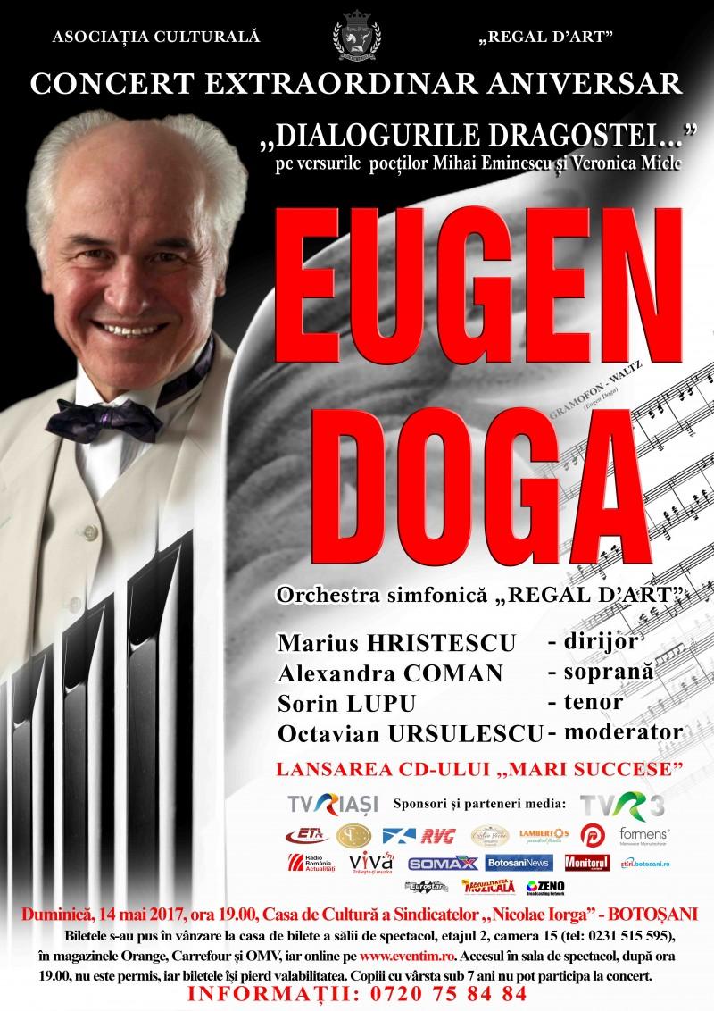 """BOTOȘANI: Concert extraordinar aniversar EUGEN DOGA - """"Dialogurile dragostei..."""", pe versurile poeților Mihai Eminescu și Veronica Micle"""