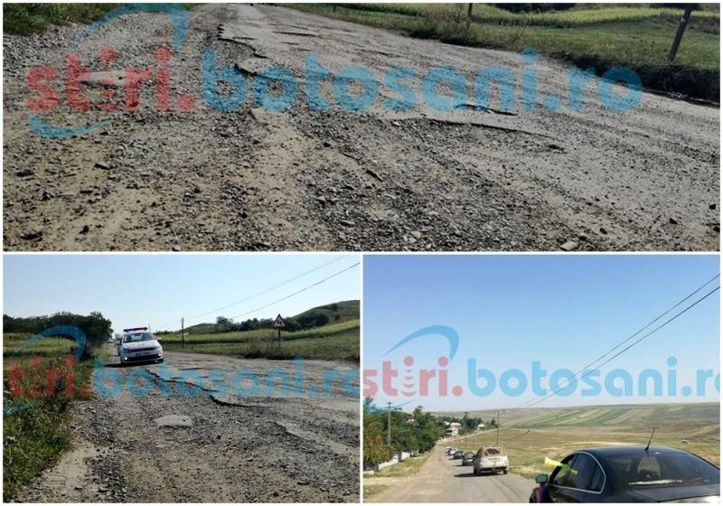 Botoşani: Disperarea i-a scos în drum! Sute de oameni din nordul judeţului protestează în craterele drumurilor judeţene, cerând reasfaltarea lor! FOTO