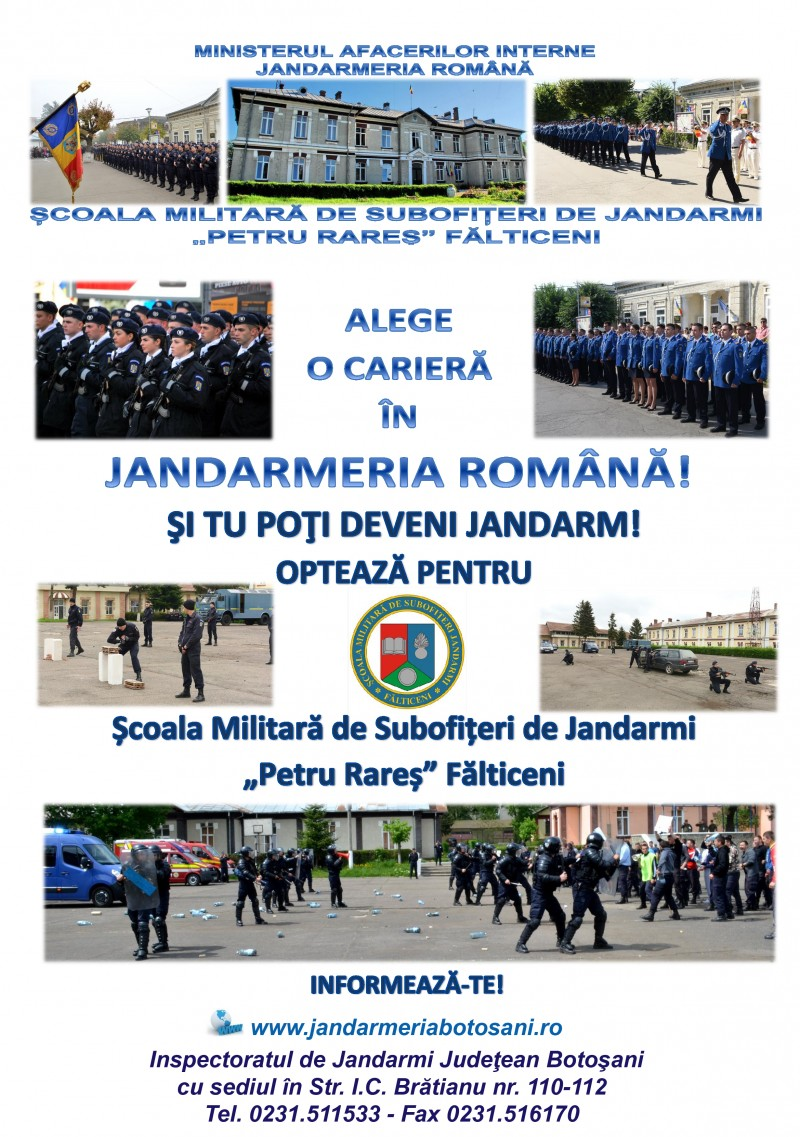 Caravana de recrutare a Jandarmeriei Române ajunge în Botoşani