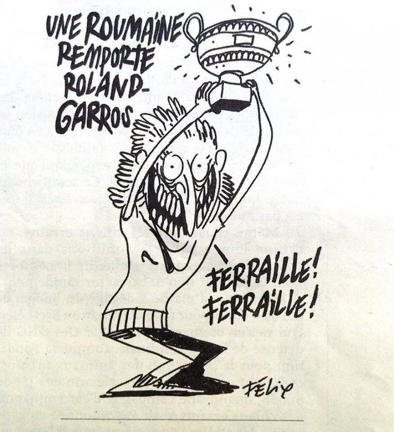 """Caricatura din Charlie Hebdo care a stârnit reacții pe internet. O româncă câștigă Roland Garros. Halep: """"Fier vechi, fier vechi!"""""""