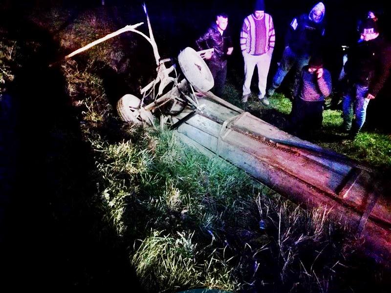 Bărbat prins sub o căruță cu lemne, care s-a răsturnat! FOTO