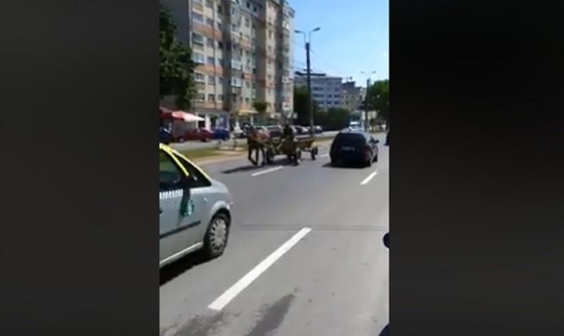Căruțaș surprins pe contrasens pe Calea Națională. VIDEO