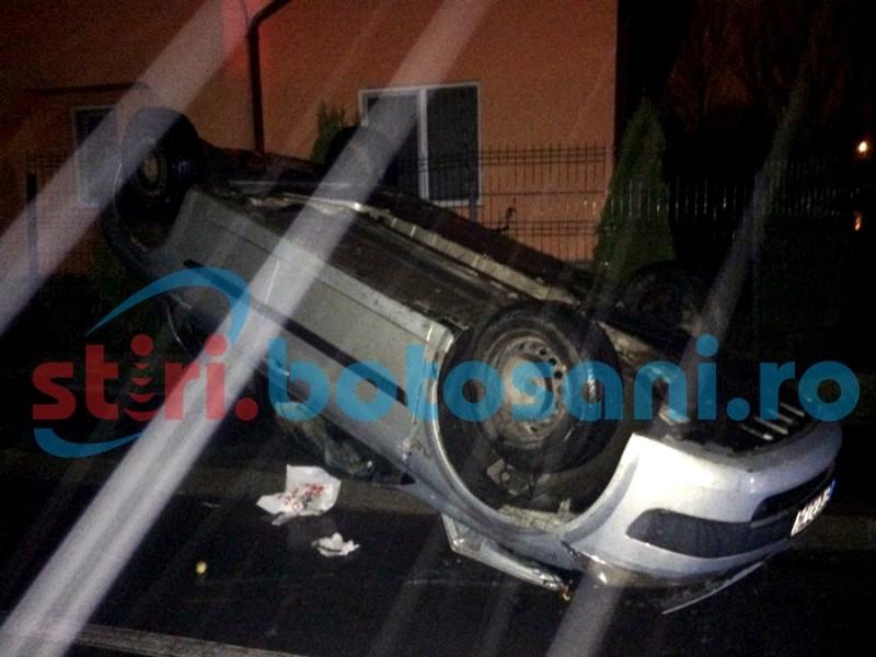 Cascadorie în Dorohoi! Un șofer beat s-a răsturnat cu mașina! FOTO