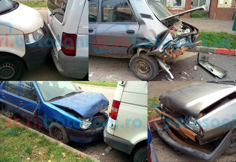 CINCI dintr-o lovitură! Un șofer cu BMW s-a izbit în PATRU mașini parcate! FOTO