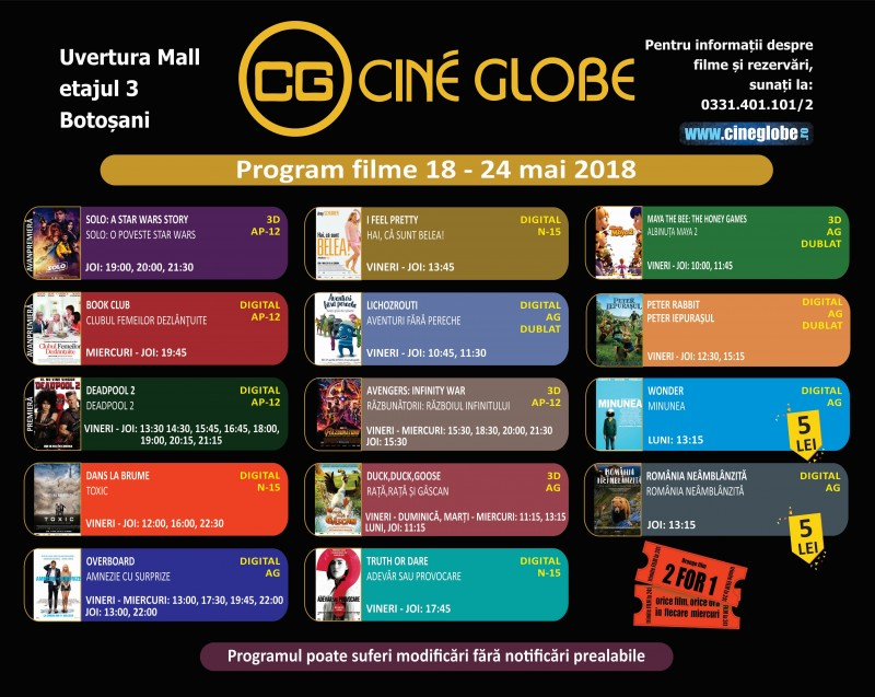 "Cine Globe Botoșani aduce provocarea: Ce film sa vedem prima data - ""Deadpool 2"" sau ""Solo: o poveste Star Wars""?"