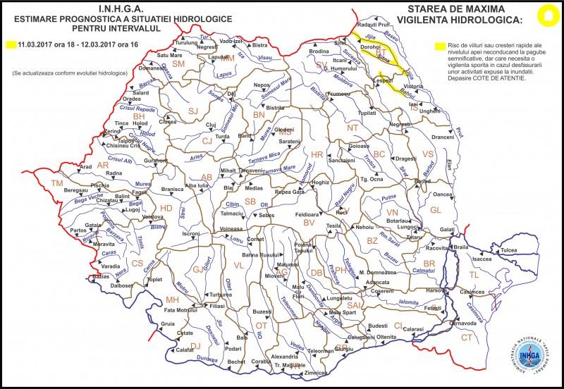 Pericol de inundații în județul Botoșani! Cod Galben emis de hidrologi!